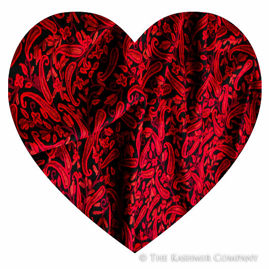 Heart Cutout Paisley Red Shawl pre Blog How to Say I Love You with a Kashmiri Shawl