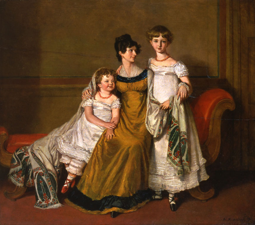 A Mother with Two Children wearing Kashmir Paisley Shawls Chalon Alfred Edward 1815 1820 Kashmir Paisley Shawls: Defining Love for Over 300 Years
