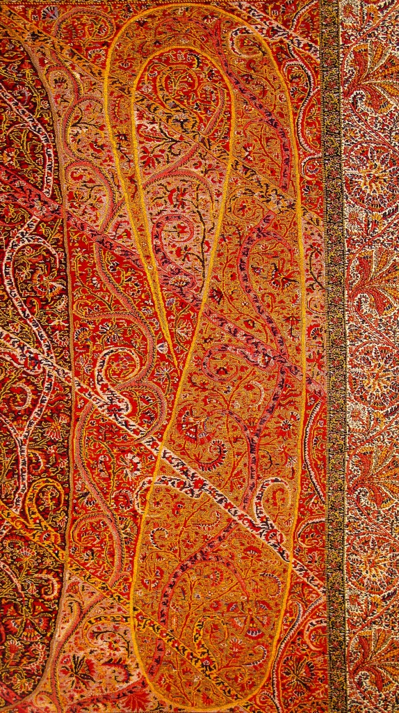 Complex and Sophisticated Buta Paisley on Long Kashmir Paisley Shawl. Sikh Period. Kashmir. Pashmina. ca. Mid 19th Century 574x1024 Kashmir Paisley Shawl and its Enduring Contribution to the Paisley Motif