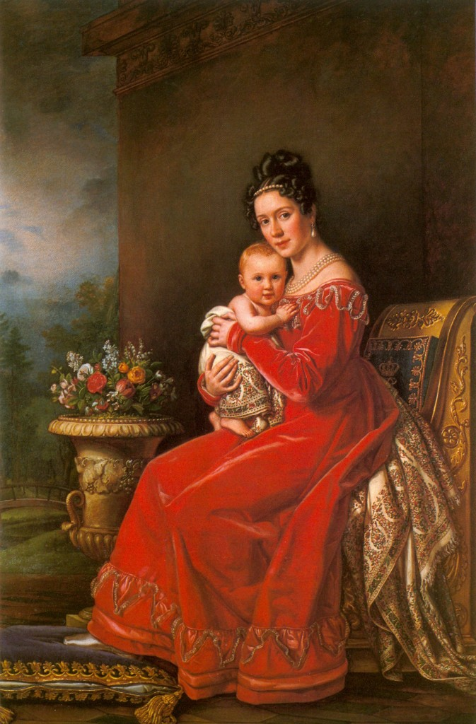 Königin Pauline Württemberg wearing a Kashmir Paisley Shawl by Joseph Karl Stieler ca. 1825. She was born a Württemberg and married a Württemberg. She is holding her son Karl who married Grand Princess Olga. 673x1024 Kashmir Paisley Shawls: Defining Love for Over 300 Years