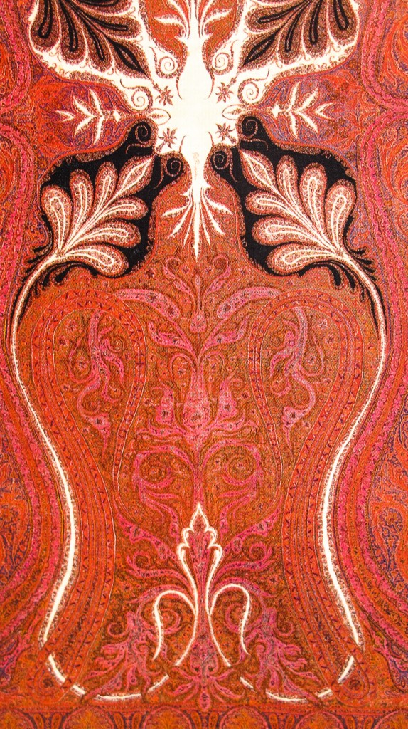 Kashmir Paisley Shawl Shoulder Mantel. Sikh Dogra Period. 19th Century 574x1024 Kashmir Paisley Shawl and its Enduring Contribution to the Paisley Motif