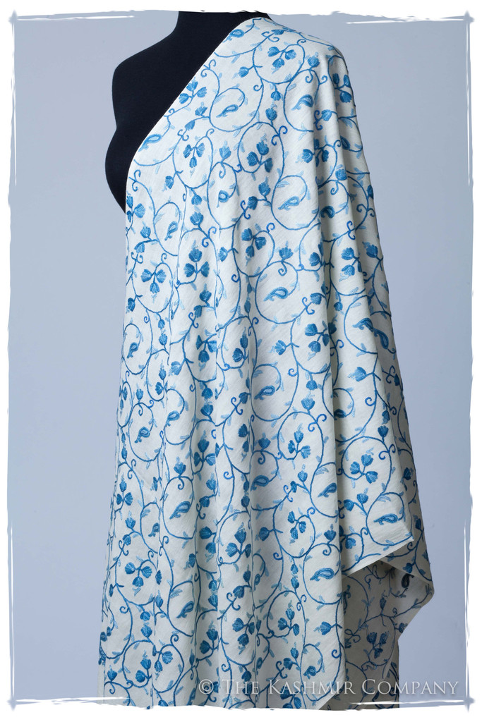 Azure Blue Ivory Secret Garden Shawl Seasons Kashmir Company The Secret Garden Collection: Add a Dash of Magic to Your Wardrobe