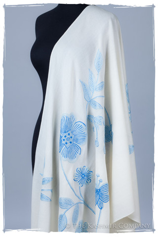 Je Ne Sais Quoi Blue Ivory Shawl Seasons The Kashmir Company Embroidered Kashmir Shawls: 5 Tips for Wearing In Spring
