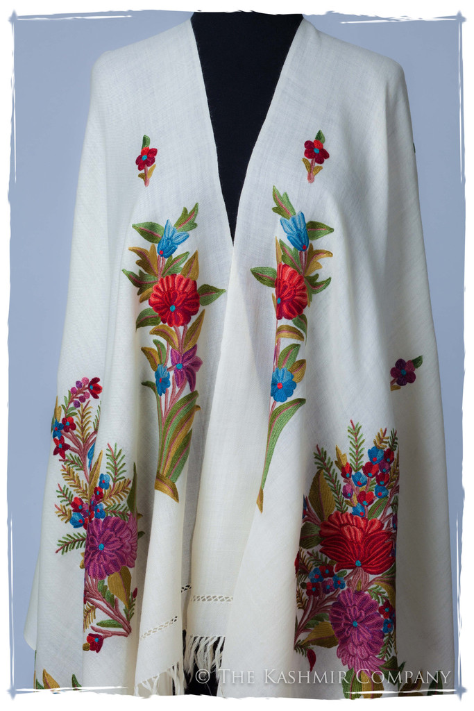 Celestial Ivory Garden Renoirs Dream Shawl Seasons Kashmir Company  Wrap the Fine Art of Renoir around Your Shoulder with the Renoir's Dream Shawl Collection