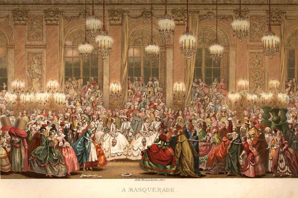 French Masquerade Lithograph 1876 Chromolithograph Masquerade Costume 18th Century Ball Dress Fashion 1024x679 Have a Ball with Our French Masquerade Shawl Collection