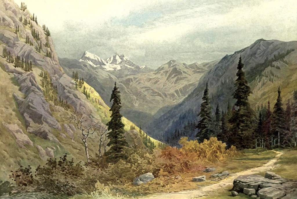 Liddar Valley Kashmir Water Color Painting by Colonel G. Strahan Deputy Surveyor General Trigonometrical Branch 1869 1945.jpg 1024x686 Kashmiri Art: Beautiful Water Color Painting of Lidar Valley, Kashmir