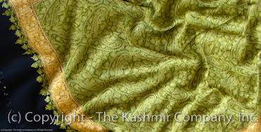 Fields of Spring Green Kashmir Paisley Shawl