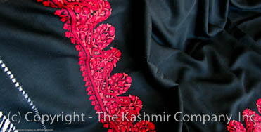 Dancing Red Border Kashmir Paisley Shawl