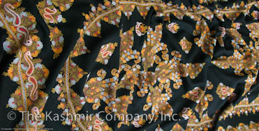 Paisley in Bloom Black Kashmir Paisley Shawl