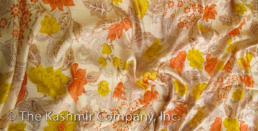 Garden of Paisley Autumn Gold Spring Silk Scarf